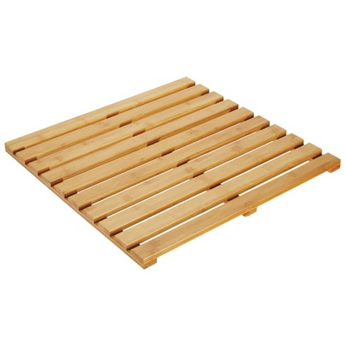 mDesign Bamboo Non-Slip Indoor/Outdoor Spa Bath Mat - Natural Light Wood - image 1 of 4