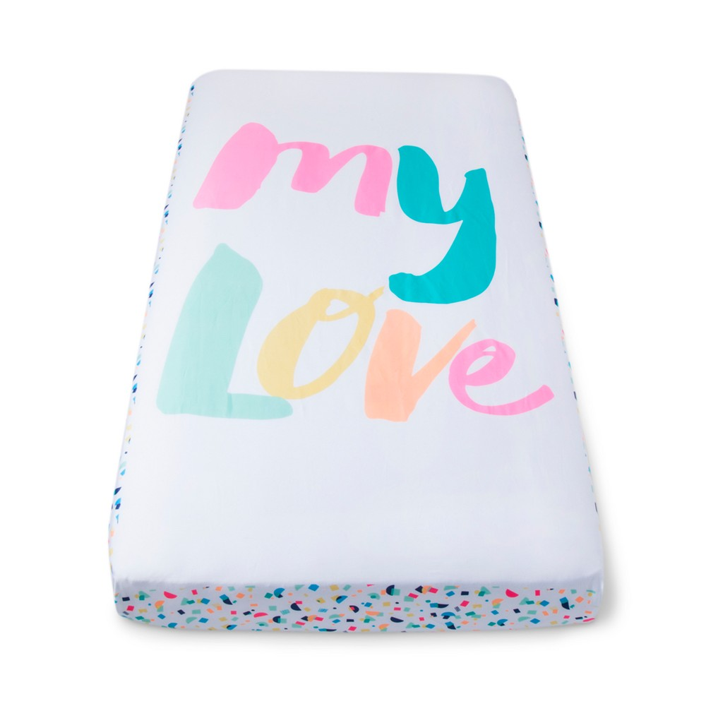 Image of Oh Joy! Woven Fitted Sheets - My Love/Confetti - Pink/Mint, Multi-Colored