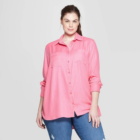Women S Plus Size Striped Long Sleeve Collared Button Down Shirt Ava Viv Pink