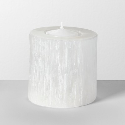 4  x 4  Selenite Crystal Candle Holder White - Opalhouse™
