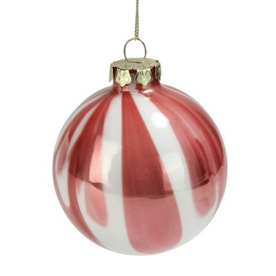 "Northlight Pink and White Marbled Glass Ball Christmas Ornament 3"" (75mm)"