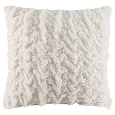 "25""x25"" Ruched Faux Fur Euro Throw Pillow Ivory"
