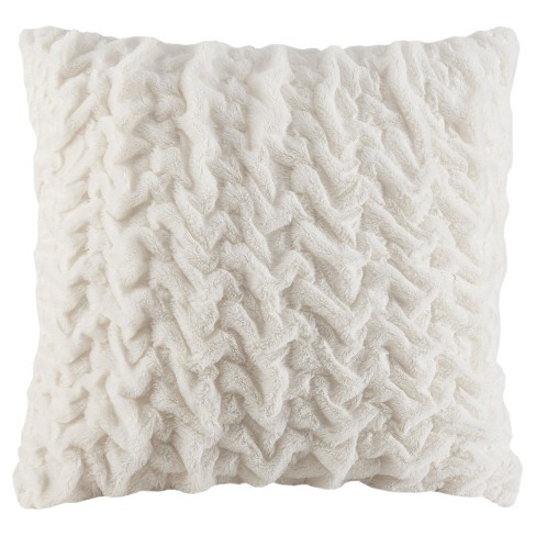 """25""""x25"""" Ruched Faux Fur Euro Throw Pillow Ivory - image 1 of 3"""