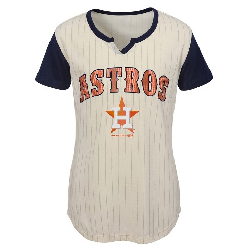 7f03070a6fe MLB Houston Astros Girls  In The Game Cream Pinstripe T-Shirt   Target