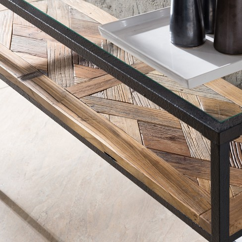 Yvonne Reclaimed Wood Console Table With Glass Top Rustic Black With ...