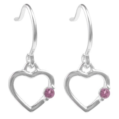 1/10 CT. T.W. Round-cut CZ Heart Dangle Pave Set Earrings in Sterling Silver - Purple - image 1 of 2