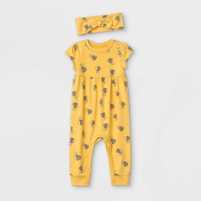 Baby Girls' Bee Romper with Headband - Cat & Jack™ Mustard Newborn