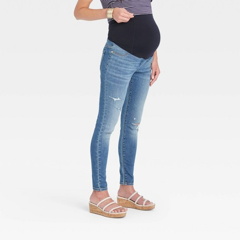Mid-Rise Over Belly Distressed Skinny Maternity Jeans - Isabel Maternity by Ingrid & Isabel™ Medium Blue - image 1 of 4