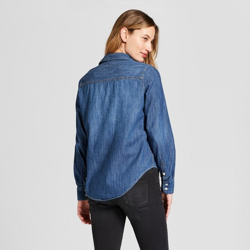 9741da83a86f Women's Labette Denim Shirt Long Sleeve Button-Down Shirt - Universal  Thread™ Dark Wash
