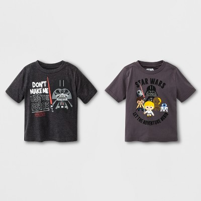 Toddler Boys' Star Wars 2pk Short Sleeve T - Shirt - Charcoal Heather 12M