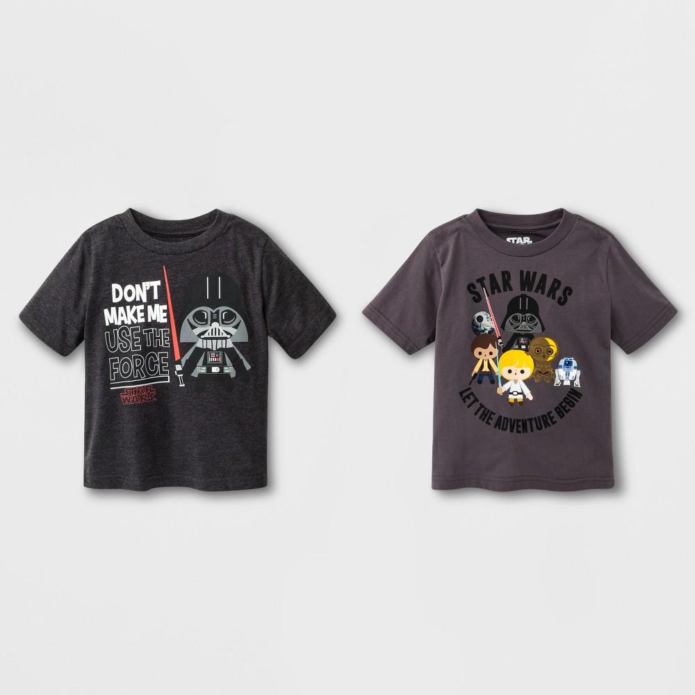 Toddler Boys' Star Wars 2pk Short Sleeve T-Shirt - Charcoal Heather 5T, Gray