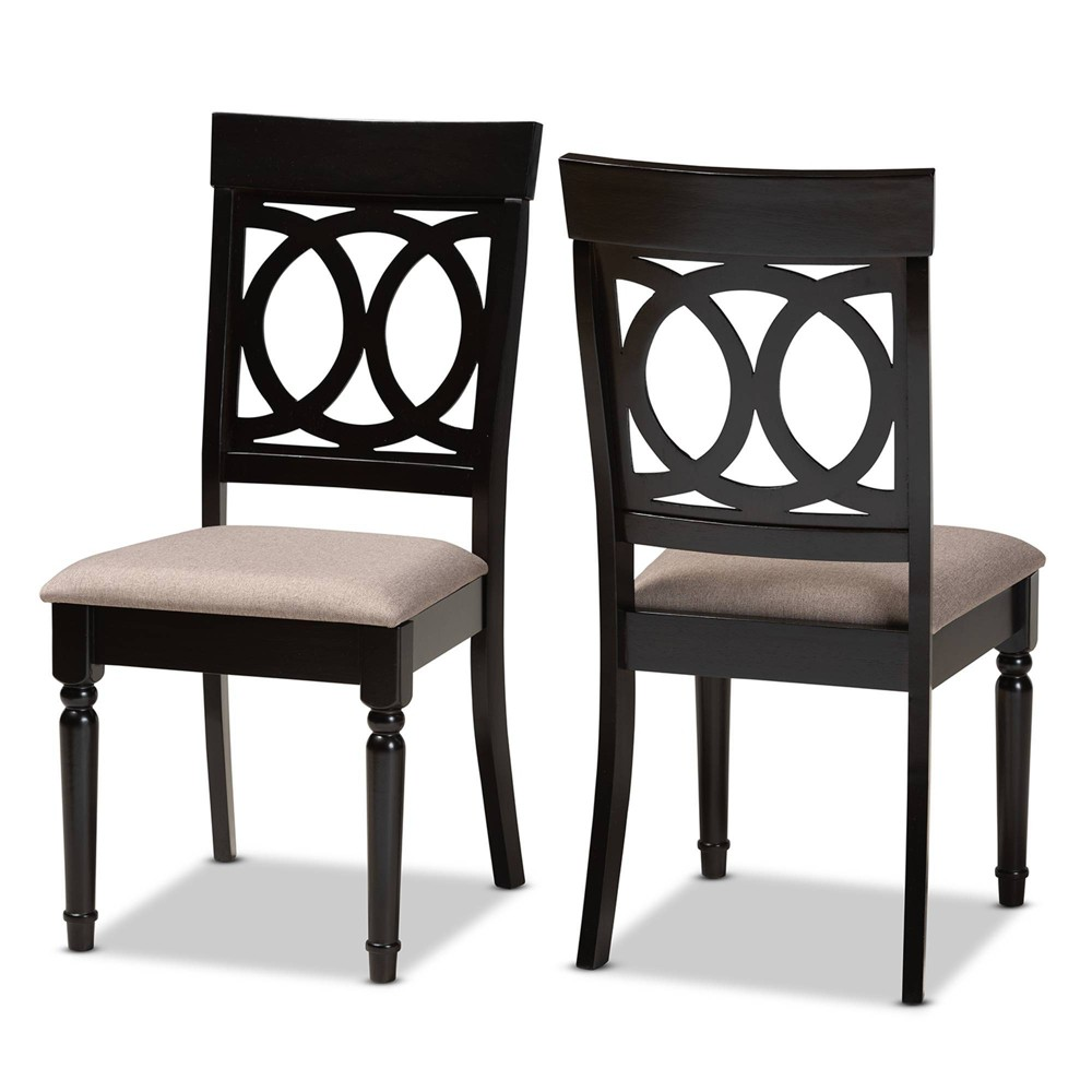 2pc Lucie Fabric Upholstered Wood Dining Chair Set Sand Dark Brown Baxton Studio