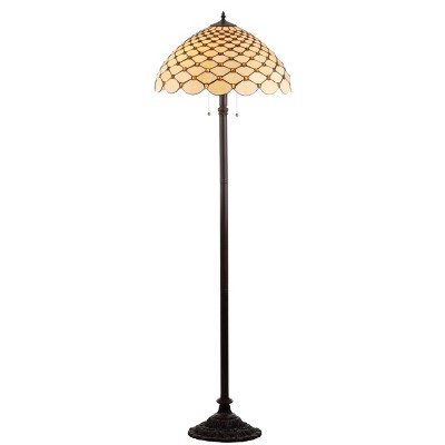 "62"" Lee Tiffany Style Floor Lamp (Includes LED Light Bulb) Bronze - JONATHAN Y"