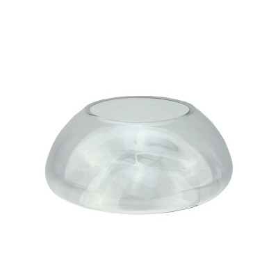 """Northlight 9"""" Transparent Glass Pillar Candle Holder with Concave Interior"""