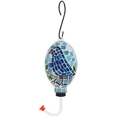 """Sunnydaze Decor Bluebird Mosaic Glass Bird Feeder - Blue - 6"""""""