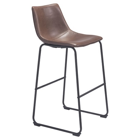 "29"" Sculpted Faux Leather Bar Chair - Espresso - ZM Home - image 1 of 5"