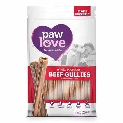 Paw Love 6'' Beef Gullies Dog Treats - 12pk