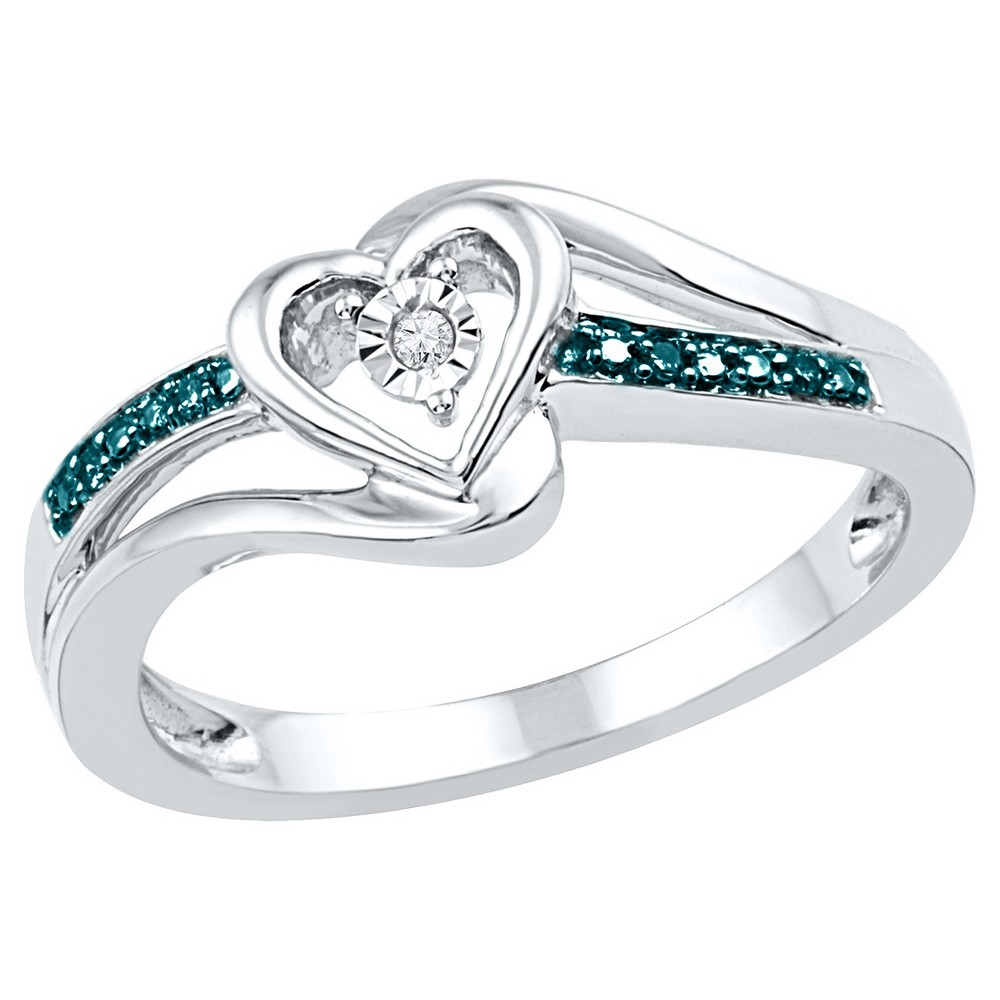 Women's Blue/White Diamond Accent Prong/Miracle Set Heart Ring in Sterling Silver (IJ-I2-I3) (Size 5.5)