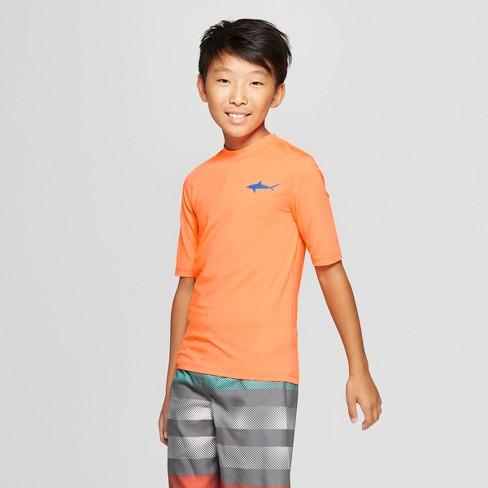 Boys' Shark Pocket Rash Guard - Cat & Jack™ Orange - image 1 of 3