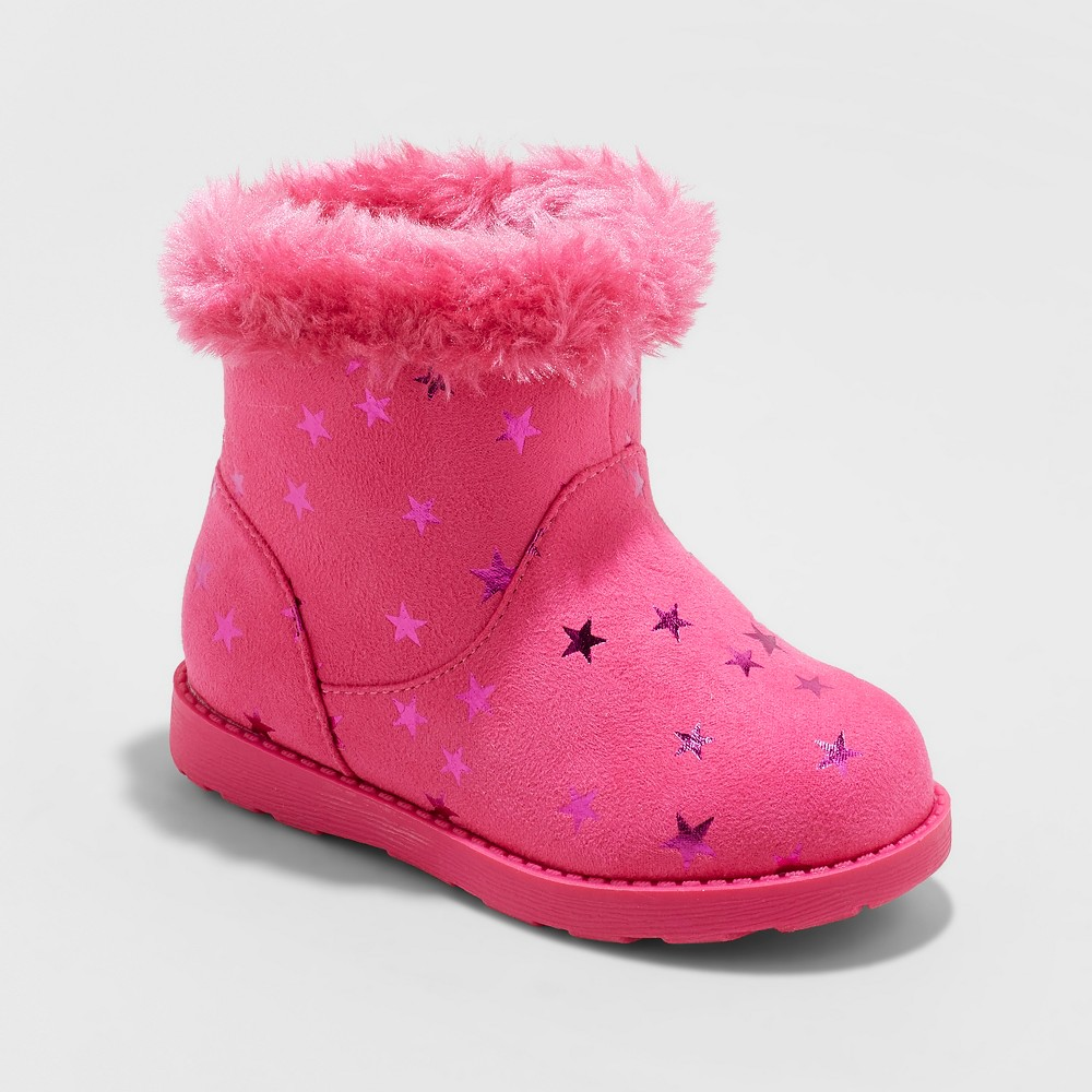Toddler Girls' Oriole Fleece Ankle Fashion Boots - Cat & Jack Fuchsia (Pink) 10