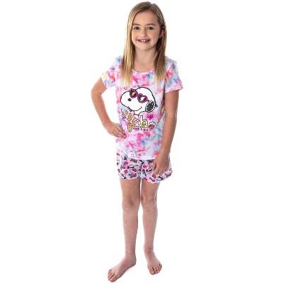 Peanuts Girls' Snoopy So Fab Tie Dye Pajamas Shirt And Shorts Pajama Set