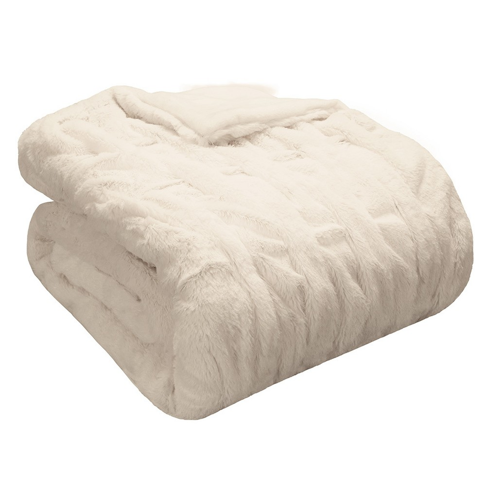 Ivory Ruched Faux Fur Throw (50x60) was $39.99 now $26.99 (33.0% off)