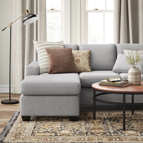 Barnstable Pillow Arm Transitional Reversible Chaise Sofa Gray ...