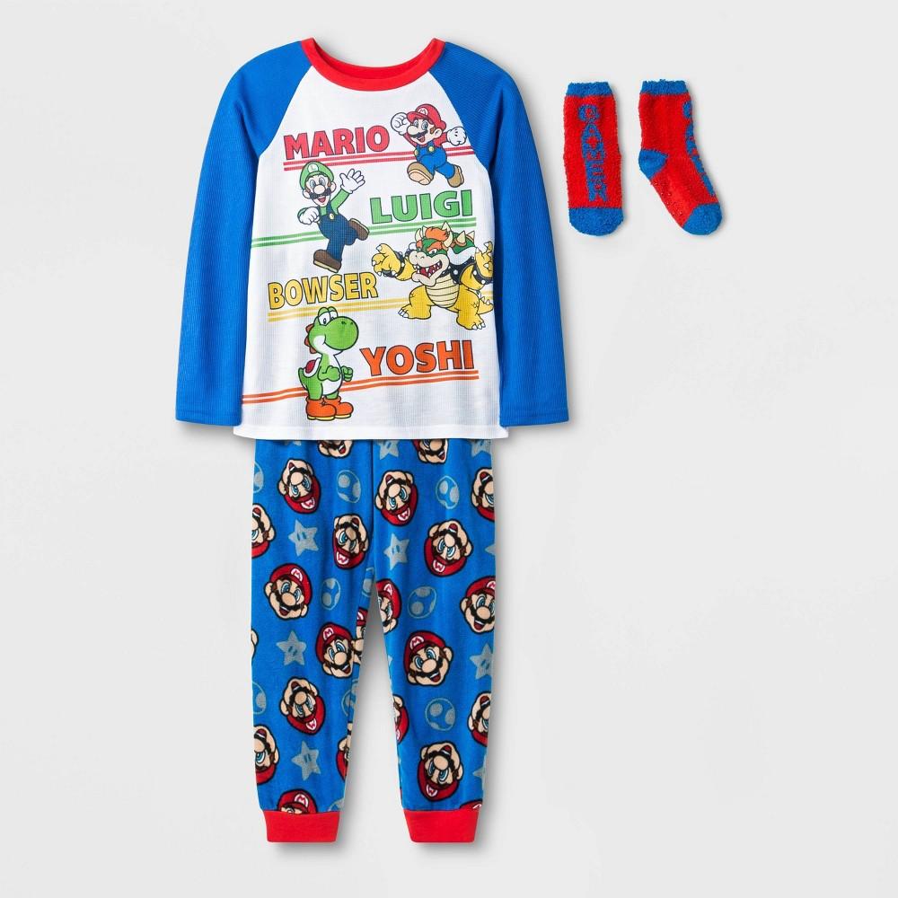 Image of Boys' Super Mario 2pc Pajama Set with Socks - Blue L, Boy's, Size: Large