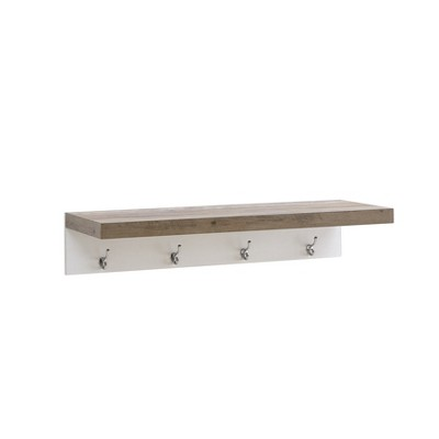 31.5  x 6.3  Wall Shelf with Four Hooks Gray/White - Danya B.