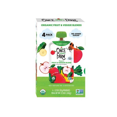 Once Upon a Farm Organic Green Kale and Apples Fruit & Veggie Blend - 4ct/3.2oz Pouches
