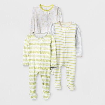 Baby Girls' 3pk Stripe Zip Sleep 'N Play - Cloud Island™ Green/White Newborn
