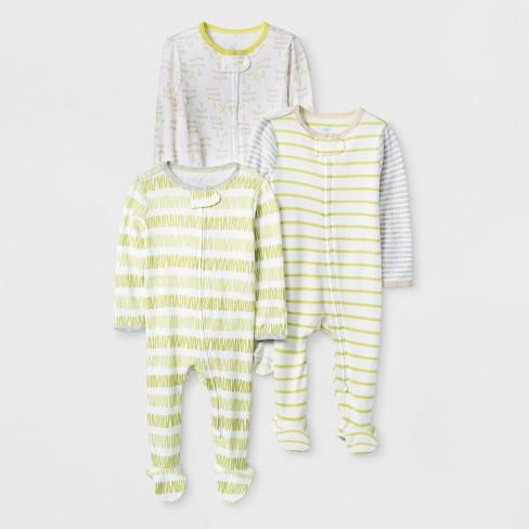 Baby Girls  3pk Stripe Zip Sleep  N Play - Cloud Island™ Green White ... 8f285ca9e