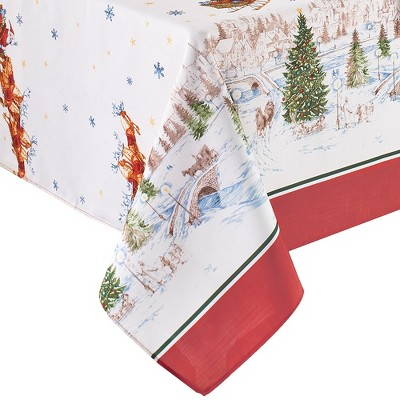 Santa's Snowy Sleighride Tablecloth - Red/Green - Elrene Home Fashions