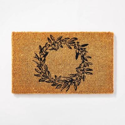 "1'6""x2'6"" Wreath Doormat Black - Threshold™ designed by Studio McGee"