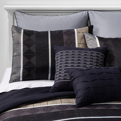 King Matthews Geometric Comforter Set Black/Navy - Hallmart Collectibles