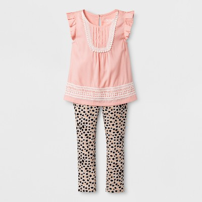Toddler Girls' Top and Bottom Set - Genuine Kids from Oshkosh - Coral/Cheetah Print 12M