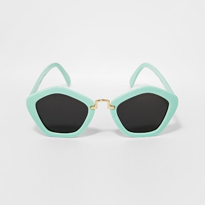 Girls' Geometric Sunglasses - Cat & Jack™ Turquoise