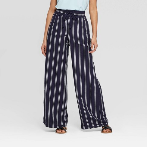 Women's Striped Regular Fit High-Rise Wide Leg Linen Pants - A New Day™ - image 1 of 9