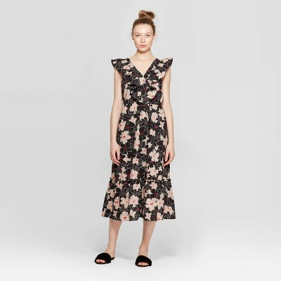 view Women's Floral Print Sleeveless Ruffle V-Neck Loose Fit Maxi Dress - Who What Wear on target.com. Opens in a new tab.