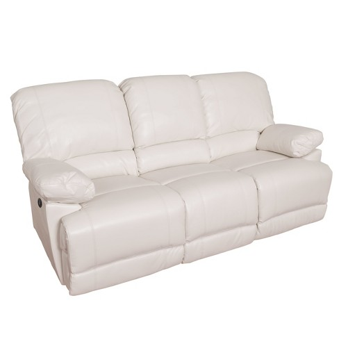 Leather Power Reclining Sofa With Usb Port White Corliving Target