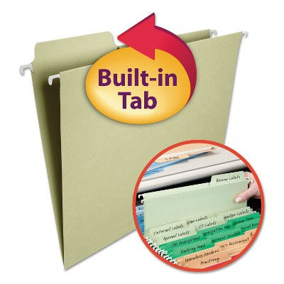 Smead FasTab Hanging File Folders 1/3 Tab Letter Moss Green 20/Box 64082