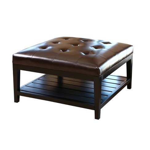 Villagio Tufted Leather Square Coffee Table Dark Brown - Abbyson Living - image 1 of 4