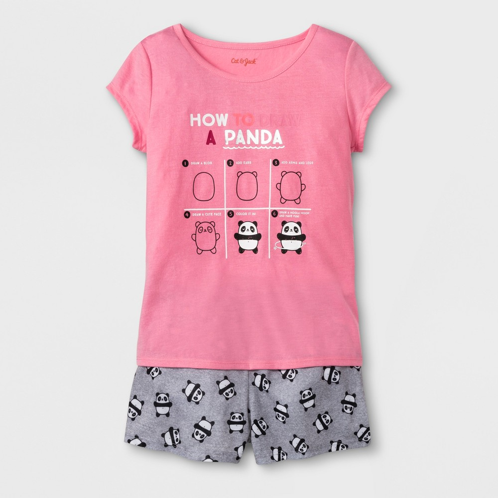 Girls' Short Sleeve How To Draw A Panda Graphic Pajama Set With Shorts - Cat & Jack Pink XL