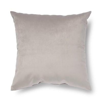 """17""""x17"""" Velvet Square Throw Pillow Gray"""