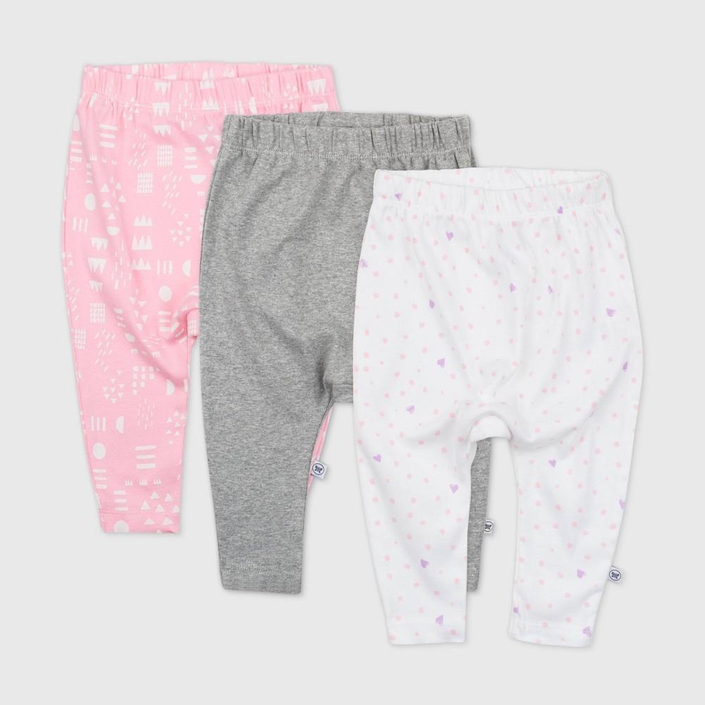 Honest Baby Girls 39 3pk Love Dot Organic Cotton Cuff Less Harem Pants Pink 24m