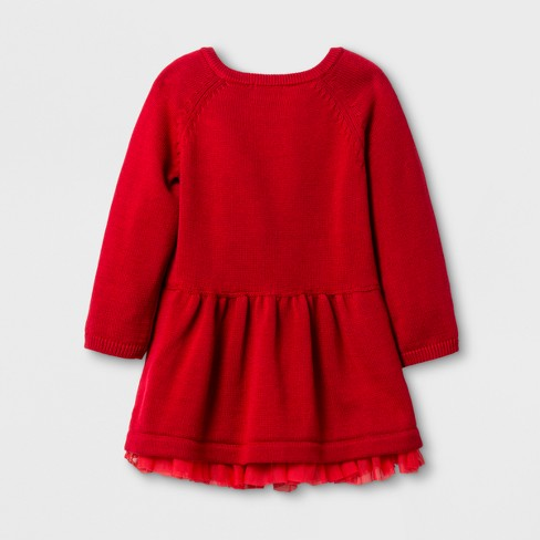 baby girls dress with sweater set cat jack red velvet target - 12 Month Christmas Dress