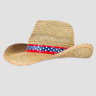 Wemco Men's Paisley and Star Band Straw Cowboy Hat - Natural One Size