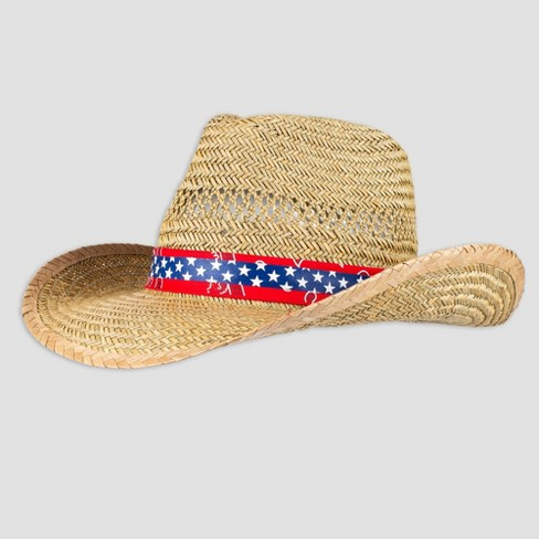 Wemco Men's Paisley and Star Band Straw Cowboy Hat - Natural One Size - image 1 of 4