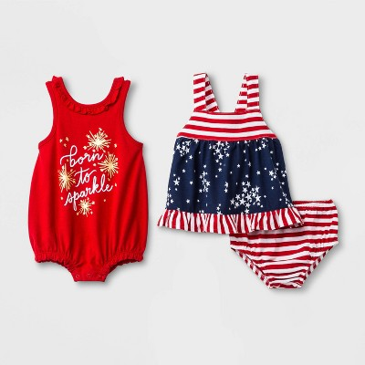 Baby Girls' 3pc  Born to Sparkle  Romper and Dress with Panty - Cat & Jack™ Red/Blue Newborn