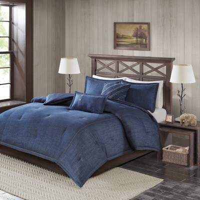 Queen Perry Oversized Denim Comforter Set - Blue